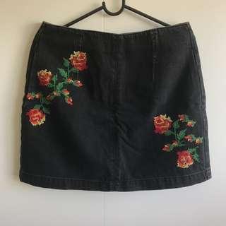 Topshop Black Denim Skirt (Size 38)