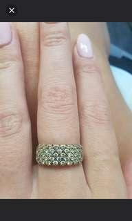 9ct Gold Diamond Round Brilliant Cut Claw Set Wide