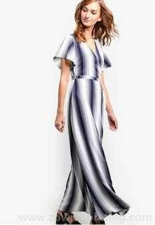 BNWT Something Borrowed Maxi Wrap Striped Dress