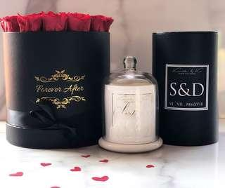 Personalised candle and box of lasting roses