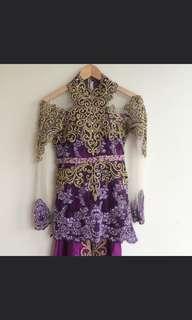 #JAN25 Kebaya wedding gown purple gold hand beaded kebaya pernikahan resepsi full payet