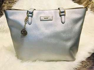 DKNY Metallic Silver Saffiano Leather Tote
