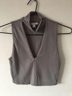 Kookai Grey Crop Top