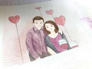 A5 Watercolour Custom Couple Artwork Design