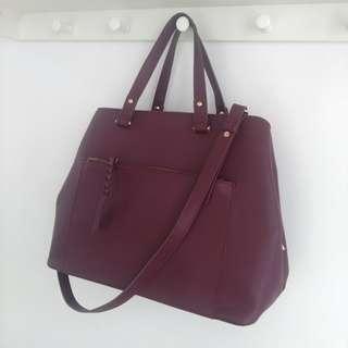 ZALORA Tote bag / Crossbody / Handbag (Maroon)