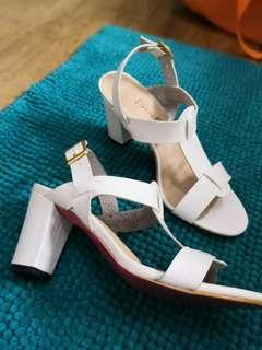 White sandals chunky heels