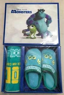 怪獸公司-拖鞋布巾套裝-全新 有盒
