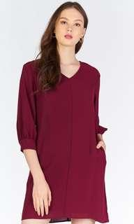 Wine Red Sleeved Dress Size L