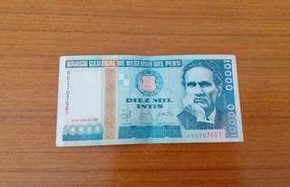 1988 Peru 秘魯絕版 10000 Intis 紙幣共24張