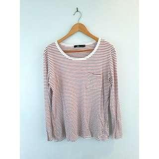 Sportsgirl Basic Long Sleeve Tee, Red and White Stripe, Size Small