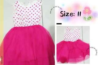 #PokkaDot+Pink Chiffon Dress #C8003