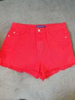 USED red shorts