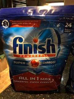2 packs of Finish all in one max Super charged powerball dishwasher tablets