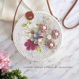Rattan Bag Flowery Craft