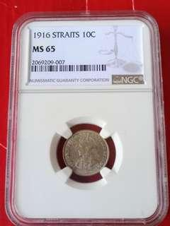 Straits settlement 10 cents 1916, key year of this series, NGC graded 65 scarce