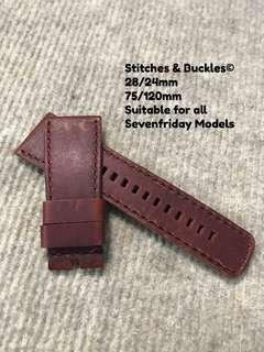 28/24mm Bordeaux Raw Edges Thick Red Calf Leather Strap for All Sevenfriday Models