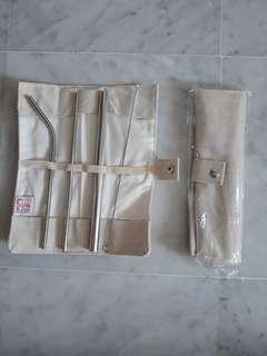 3pcs Metal Travel Straws