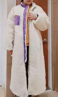 低階貴婦百貨購入 山東 韓國長版抽繩超好看羊羔毛外套