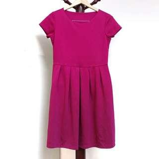 Purple Violet Bottom-pleated Dress #CNYRED #JAN50