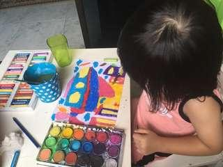 Colouring + painting class for kids