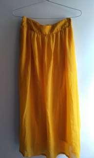 Yellow flowy chiffon long skirt