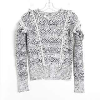 Gap fringe sweater gray black white