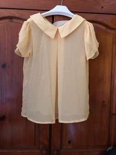 Pale yellow chiffon top