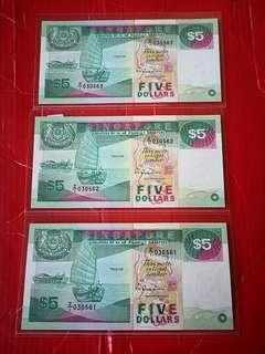Singapore $5 ship Z/1,replacement star notes in 3 consecutive runs and in unc 3 pcs in lot
