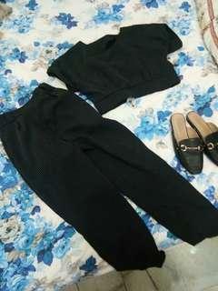 Crop top dan pants stripe set