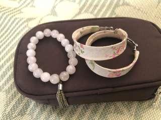 Pink lady style bracelet & earrings