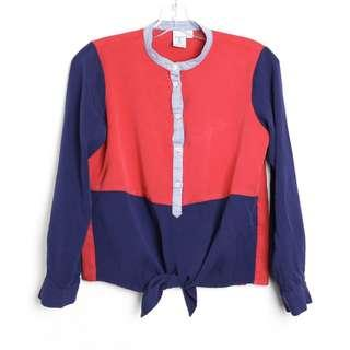 Red and blue knot crop shirt colorblock S small