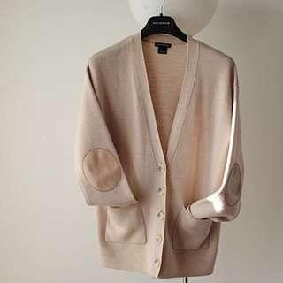 Club Monaco Beige Wool Button Cardigan Leather Elbow Patches S