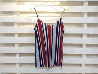 STRIPED PLEATED STRING TOP