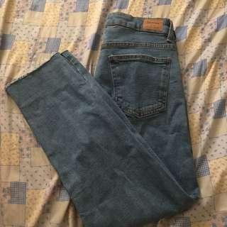Bershka straight cropped high waist jeans
