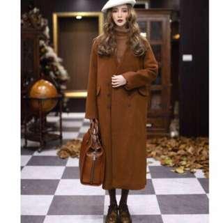🚚 Dresseum 無領雙排釦大衣 羊毛80% S號