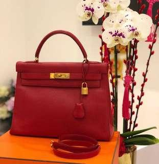 8c71118f256e Hermes Vintage Kelly 32 in Rouge Vif