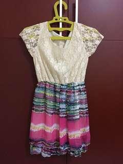 Dress terusan brukat motif bunga - free size