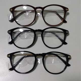 Glossy vintage Black Brown with Gold Silver Grip Rod Eyewear Frame Spectacle Glasses