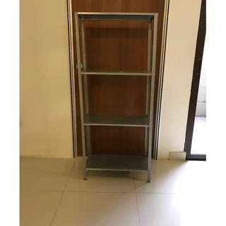 Set of three aluminum storage shelves