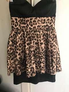 Women's Fresh soul strapless leopard party dress