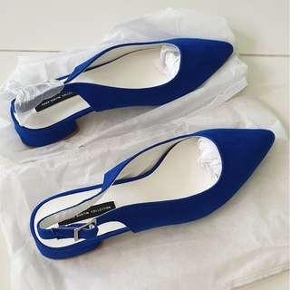 Blue suede Pointy heels Size36
