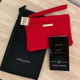 Giorgio Armani Pouch bag with beautifying lips enhancer 化妝袋連唇彩