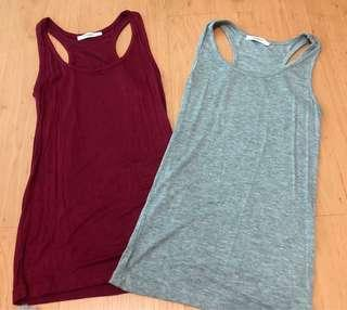 Red and grey tank tops