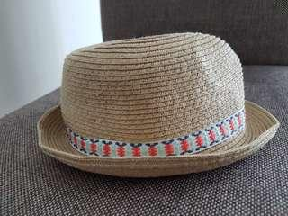Baby toddler straw beach fedora hat