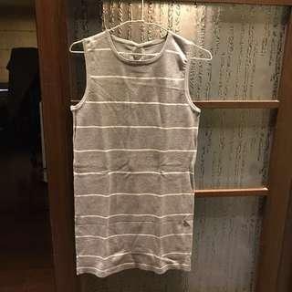 🚚 灰白條紋針織 背心裙
