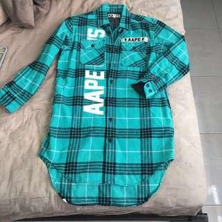 Authentic AAPE by Bathing Ape checked logo plaid hi low dress Brand New