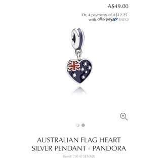 Pandora Australian Flag Heart Silver Pendant
