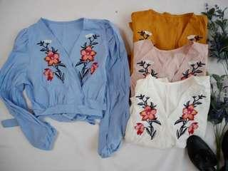 New embroidery floral blouse