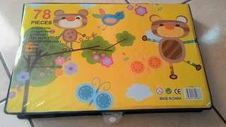 78 pcs children art tools with casing