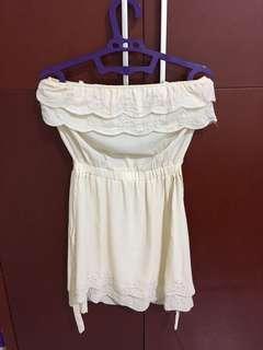 Dress terusan warna Krem motif bunga